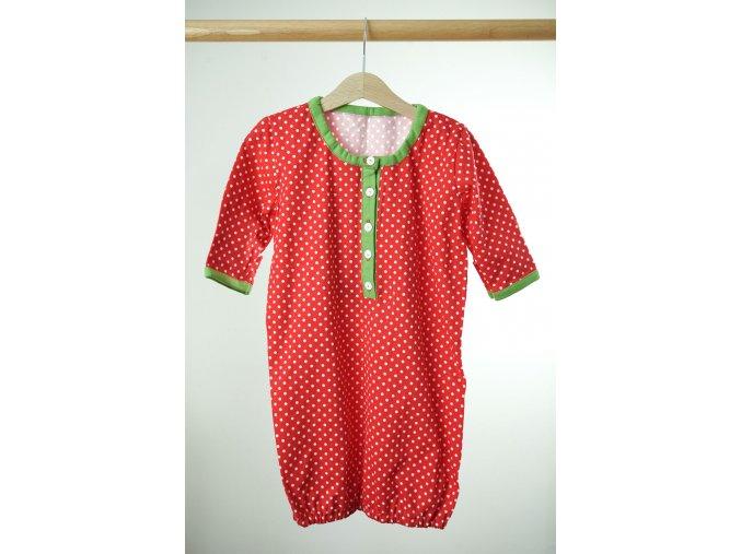Novorozenecká noční košilka červená s puntíky 0-5 m