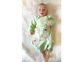 Novorozenecká košilka bambus zelená s květy vel. 0-5 m
