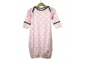 Novorozenecká noční košilka biobavlna růžová se srnkama 0-5 m