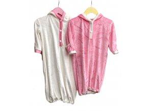 Novorozenecká noční košilka s kapucí, bambusový aksamit 0-6 m