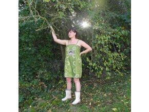Zelená damašková noční košilka s ufonem, vel. M