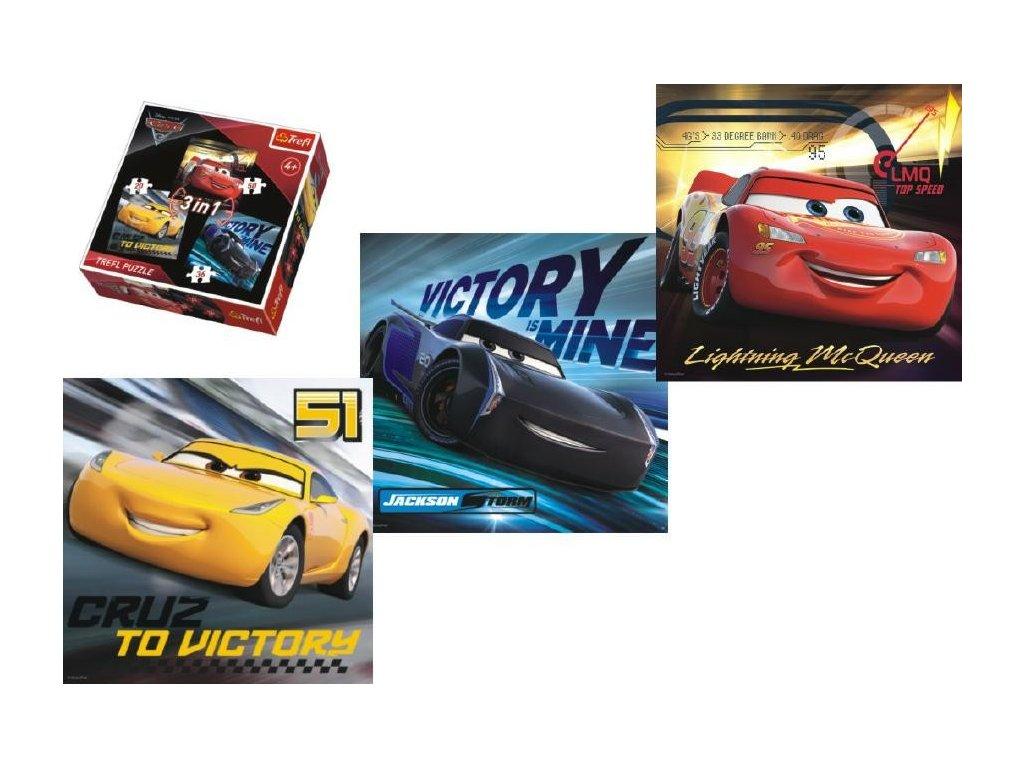 Puzzle CARS 3 - set tří obrázků v 1 krabici - SkřítekVÍTEK ea9789c250