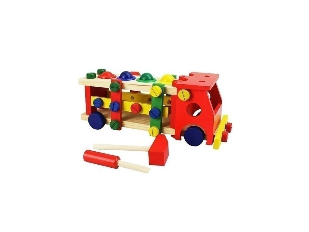 Dětské dřevené zatloukací autíčko s kladivkem a šroubovakem ... 94742686b6