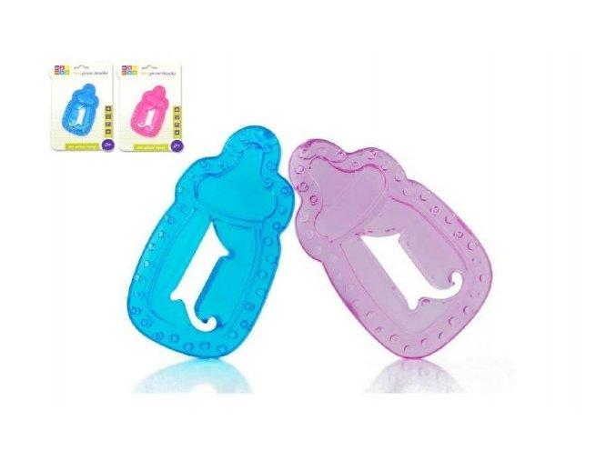 Kousátko chladící lahvička plast 11cm asst 2 barvy na kartě