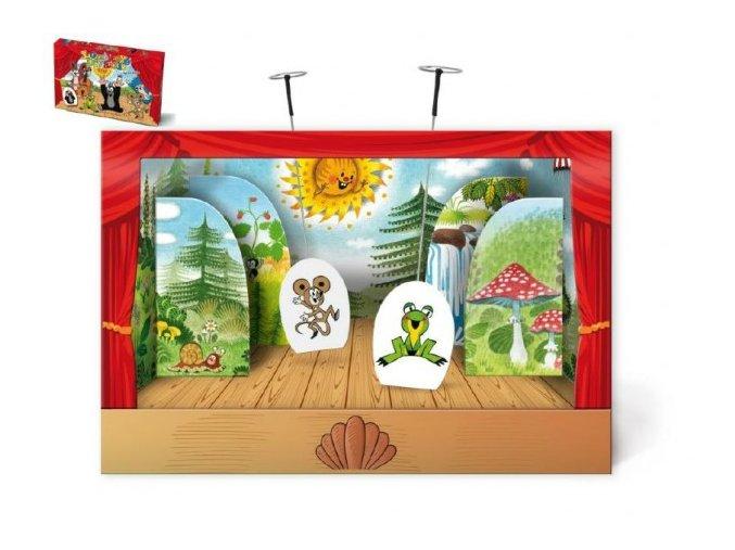 Divadlo Krtek loutkové papírové 6ks postaviček v krabici 34x23x4cm