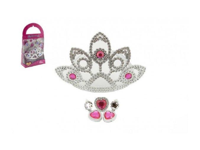 Sada krásy Korunka + náušnice s doplňky plast v krabičce 16x29x7cm karneval