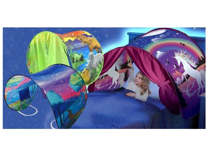 Pohádkový stan nad postel: zima, vločky, vesmír, jednorožec, dinosaurus