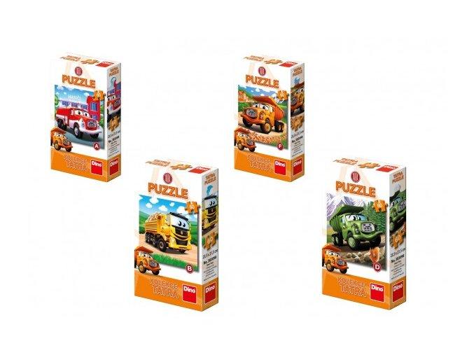 Puzzle Tatra auto 60 dílků 23,5x21,5cm 6 druhů v krabičce 9x15x3cm (1 ks)