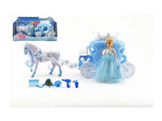 Kůň česací s kočárem + panenka s doplňky plast 40cm v krabici
