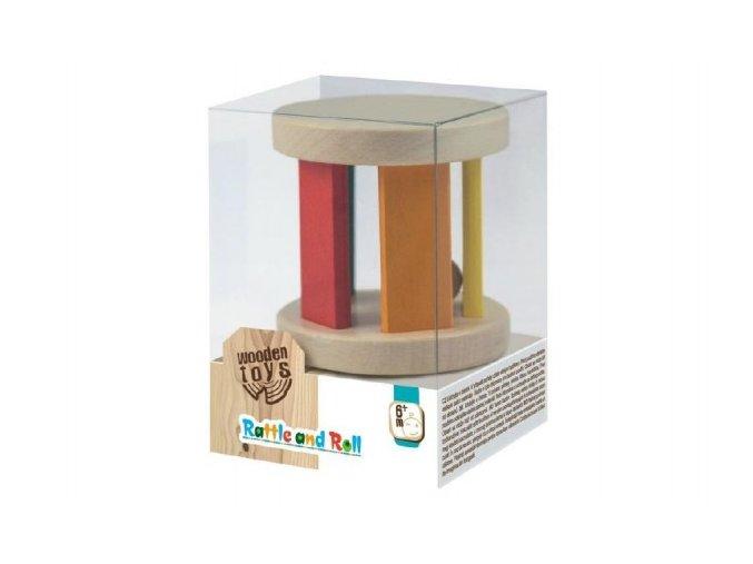 Chrastítko s kuličkou dřevěné Wooden Toys v krabičce 10x7x7cm 6m+