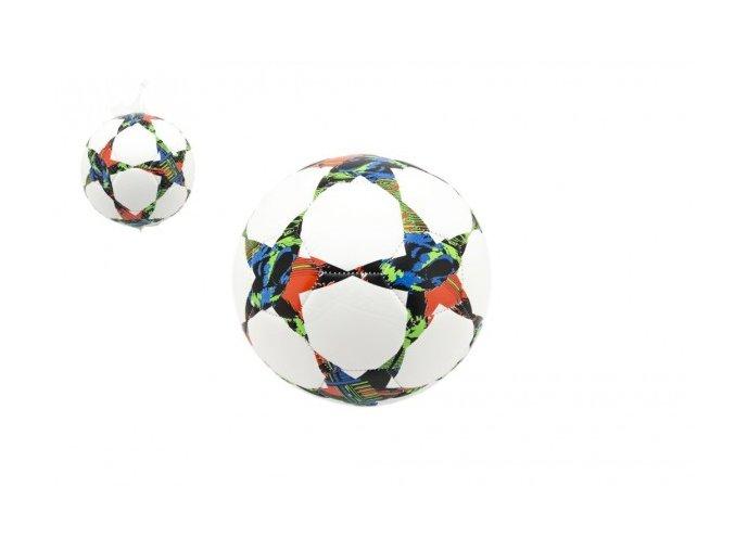 Míč fotbalový hvězdy nafouknutý šitý 22cm vel. 5 kůže v sáčku