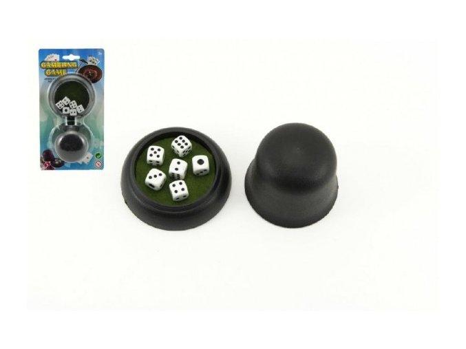 Hrací kostky 6ks 10x10mm s kelímkem společenská hra na kartě 11x21x5cm