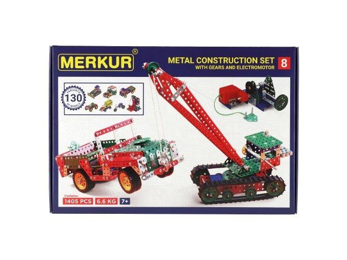 Stavebnice MERKUR 8 130 modelů 1405ks 5 vrstev v krabici 54x36,5x8,5cm