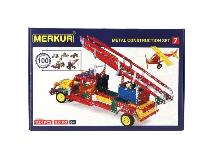 Stavebnice MERKUR 7 100 modelů 1124ks 4 vrstvy v krabici 54x36x6cm