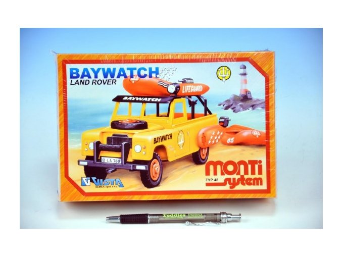 Stavebnice Monti System MS 48 Baywatch Land Rover v krabici 22x15x6cm
