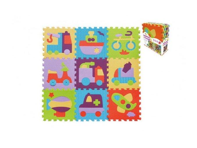 Pěnové puzzle dopravní prostředky asst mix barev 9ks 32x32x1cm