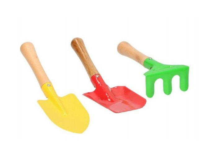 Nářadí zahradnické pro děti dřevo kov 3ks na kartě 15x22cm