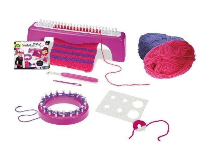Studio pletení: Pletací stůl Miley 3v1+ pletení plast s doplňky v krabici 30x24x7cm 6+
