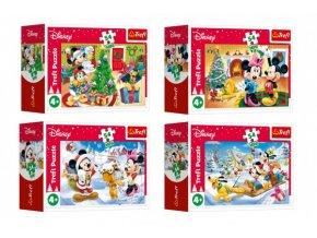 Minipuzzle Vánoce s Mickeym 54 dílků 4 druhy v krabičce skladem