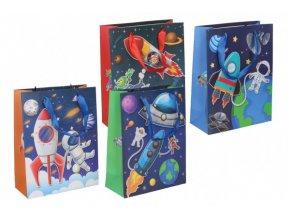 Dárková taška dětská vesmír mix barev 18x23x8cm