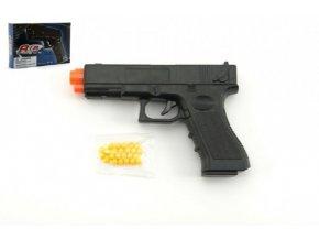Pistole se zásobníkem na kuličky 17cm plast + kuličky v krabici