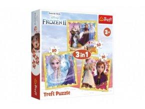Puzzle 3v1 Ledové království II/Frozen II 20x19,5cm v krabici 28x28x6cm
