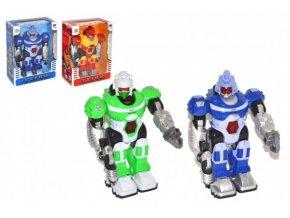Robot chodící plast 25cm na baterie se světlem se zvukem mix barev v krabici 20x28x11cm