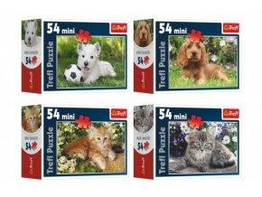 Minipuzzle Zvířátka 54 dílků 4 druhy v krabičce 9x6,5x3,5cm (1 ks)