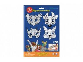 Maska škraboška 3D papírová 4ks sova, jelen, zajíc, superhrdina karneval v sáčku 22x32,5x2cm