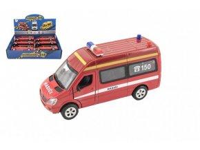 Auto hasiči kov/plast 15cm na baterie se světlem se zvukem na zpětné natažení skladem