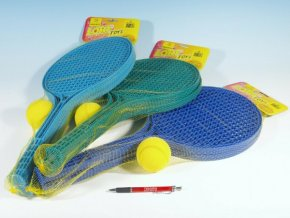 Soft tenis plast barevný+míček 53cm skladem