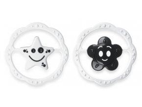 Černobílé chrastítko - hvězdička a kytička v kruhu skladem
