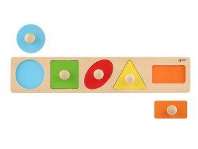 Vkládačka 5ks dřevo geometrické tvary pro nejmenší 45x9x2cm