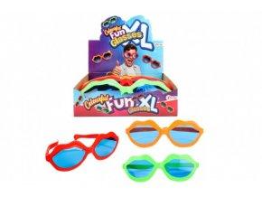 """Brýle veselé """"Kiss"""" XL 25cm plast 3 barvy (1 ks) karneval"""