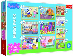 Puzzle 10v1 Prasátko Peppa s přáteli
