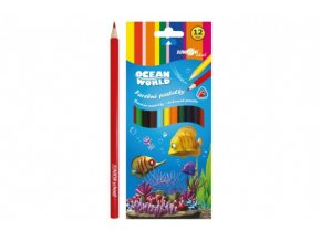 Pastelky barevné dřevo Ocean World trojhranné 12 ks v krabičce skladem
