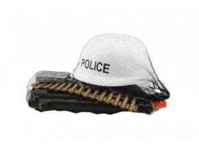 Sada policie helma+samopal na setrvačník s doplňky plast skladem