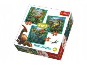 Puzzle 3v1 Svět Dinosaurů 20x19,5cm skladem