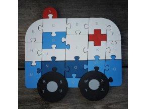 drevene puzzle sanitka ambulance
