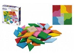 Mozaika barevná dřevěná 49 ks v krabici 20x20x4cm