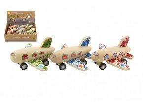 Letadlo dřevěné 10x9cm na zpětné natažení 3 barvy (1 ks) 18m+
