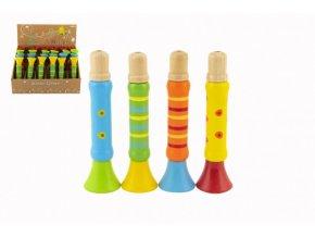 Píšťalka dřevěná barevná 12 cm 4 barvy (1 ks) 18m+
