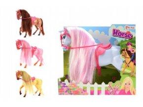Kůň Sofie s hřívou česací plast 26cm mix z 4 barvy v krabici