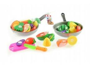 Krájecí ovoce + pánev s nádobím plast 30cm mix z 2 druhy v síťce