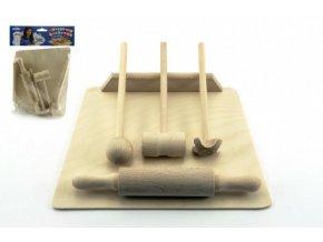 Kuchyňské nádobí prkénko, váleček, palička dřevo 20cm v sáčku