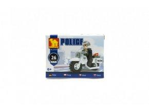 Stavebnice Dromader Policie Motorka 26ks v krabičce 10x7x4,5cm