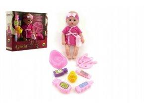 Panenka miminko Agusia plast 27cm pevné tělo pijící čůrající s doplňky  v krabici