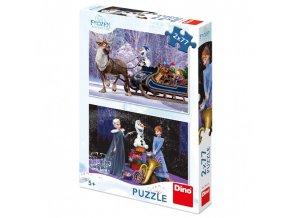 Puzzle Frozen Vánoce 2x77 dílků 26x18cm
