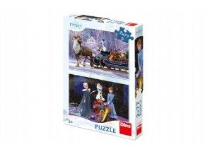 Puzzle Frozen Vánoce 2x77 dílků 26x18cm v krabici 19x27cm