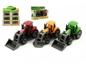 Traktor s radlicí a nakladačem kov/plast 12cm asst 2 druhy v krabičce volný chod 12ks v boxu